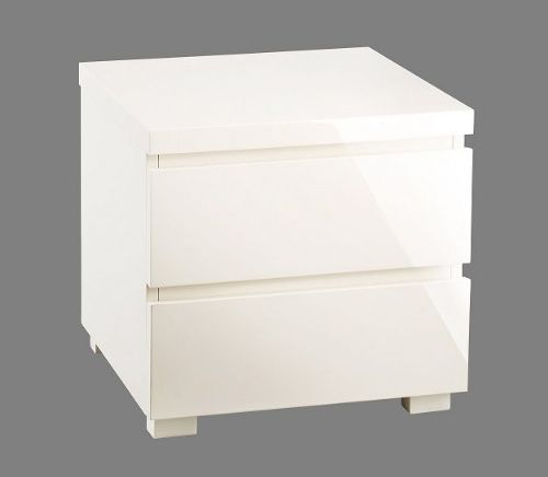 Cosmos Cream Gloss 2 Drawer Bedside